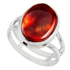 925 silver 7.54cts solitaire natural mexican fire agate ring size 7.5 r50097