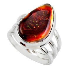925 silver 10.25cts solitaire natural mexican fire agate ring size 6.5 r50100