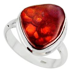 925 silver 10.60cts solitaire natural mexican fire agate ring size 9.5 r50105