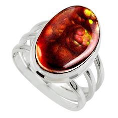 925 silver 8.42cts solitaire natural mexican fire agate ring size 7.5 r50109