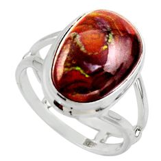 925 silver 8.42cts solitaire natural mexican fire agate ring size 7.5 r50119