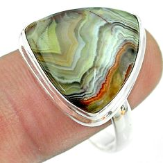 925 silver solitaire natural mexican laguna lace agate ring size 10 t54146