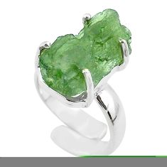 925 silver 7.97cts solitaire natural moldavite adjustable ring size 4 t50004