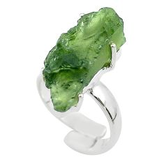 925 silver 8.77cts solitaire natural moldavite adjustable ring size 6.5 t50032