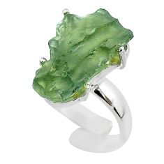 925 silver 8.57cts solitaire natural moldavite adjustable ring size 6.5 t50034