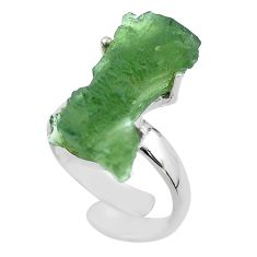 925 silver 9.10cts solitaire natural moldavite adjustable ring size 6.5 t50036