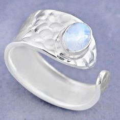 925 silver 1.46cts solitaire natural moonstone adjustable ring size 7.5 t47340