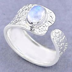 925 silver 1.50cts solitaire natural moonstone adjustable ring size 7.5 t47420