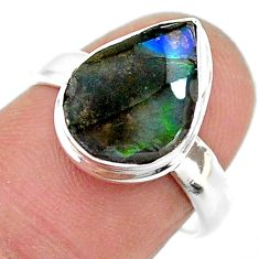 925 silver 4.67cts solitaire natural multi color ammolite ring size 7 t18824