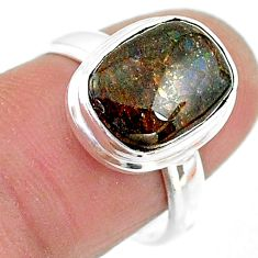 925 silver 11.11cts solitaire natural multi color ammolite ring size 7 t18838