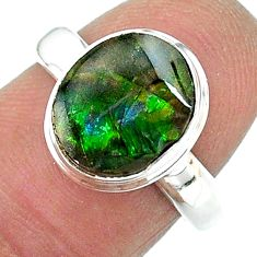 925 silver 4.05cts solitaire natural multi color ammolite ring size 7 t18978