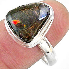 925 silver 5.82cts solitaire natural multi color ammolite ring size 9 t18814
