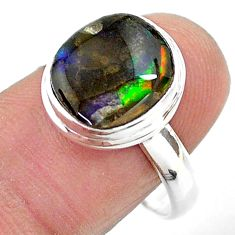 925 silver 5.58cts solitaire natural multi color ammolite ring size 9 t18835