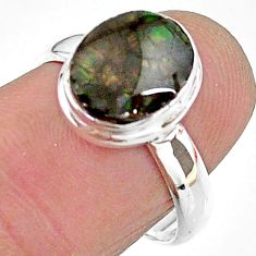 925 silver 4.34cts solitaire natural multi color ammolite ring size 7.5 t18855