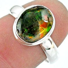925 silver 3.98cts solitaire natural multi color ammolite ring size 6.5 t18976