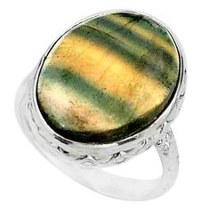 925 silver 17.18cts solitaire natural multi color fluorite ring size 9 t15429