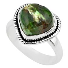 925 silver 4.82cts solitaire natural ocean sea jasper heart ring size 6 t29208