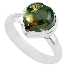 925 silver 4.67cts solitaire natural ocean sea jasper heart ring size 8 t29220