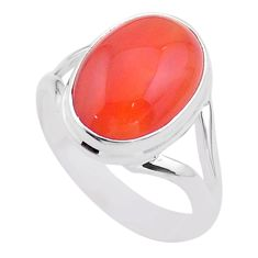 925 silver 6.57cts solitaire natural orange cornelian oval ring size 7 t45975