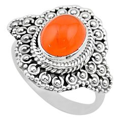 925 silver 4.07cts solitaire natural orange cornelian ring size 8 t20124