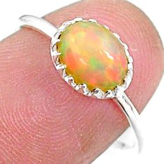925 silver 2.08cts solitaire natural orange ethiopian opal ring size 7 t9084