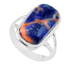 925 silver 12.31cts solitaire natural orange sodalite ring size 10 t17805