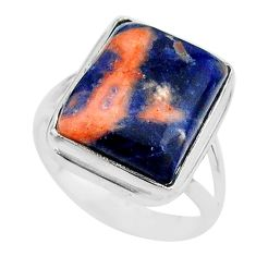 925 silver 14.26cts solitaire natural orange sodalite ring size 10 t17807