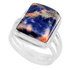 925 silver 14.61cts solitaire natural orange sodalite ring size 9.5 t17811