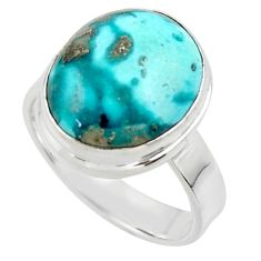 925 silver 9.10cts solitaire natural persian turquoise pyrite ring size 8 r49225