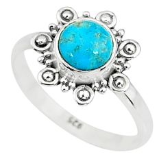 925 silver 2.42cts solitaire natural persian turquoise pyrite ring size 8 t9128