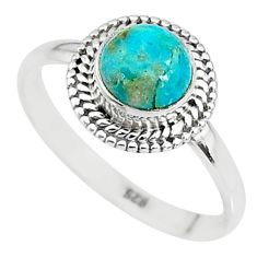 925 silver 2.41cts solitaire natural persian turquoise pyrite ring size 9 t9131