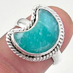925 silver 5.38cts solitaire natural peruvian amazonite moon ring size 7 t47644