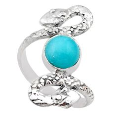 925 silver 3.01cts solitaire natural peruvian amazonite snake ring size 8 t31964
