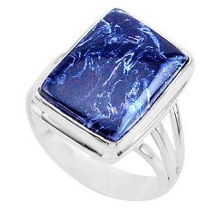925 silver 12.04cts solitaire natural pietersite (african) ring size 10 t24769