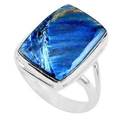 925 silver 14.39cts solitaire natural pietersite (african) ring size 11 t24772