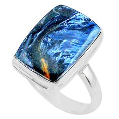 925 silver 14.08cts solitaire natural pietersite (african) ring size 10.5 t24776
