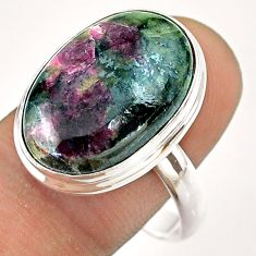 925 silver 14.12cts solitaire natural pink eudialyte oval ring size 11 t54473