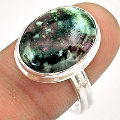 925 silver 9.99cts solitaire natural pink eudialyte oval ring size 8.5 t54468