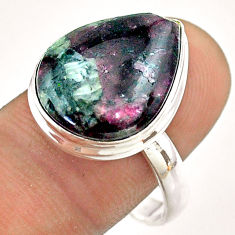 925 silver 10.81cts solitaire natural pink eudialyte pear ring size 10 t54464