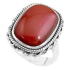 925 silver 9.65cts solitaire natural pink moonstone octagan ring size 6.5 t10356