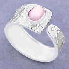 925 silver 1.45cts solitaire natural pink opal adjustable ring size 8 t47317
