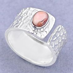 925 silver 1.47cts solitaire natural pink opal adjustable ring size 7.5 t47477