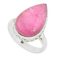 925 silver 9.99cts solitaire natural pink petalite pear shape ring size 8 t10544