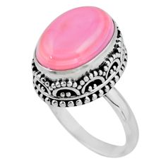 925 silver 6.89cts solitaire natural pink queen conch shell ring size 7.5 r51365