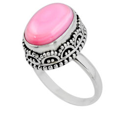 925 silver 6.92cts solitaire natural pink queen conch shell ring size 8.5 r51377