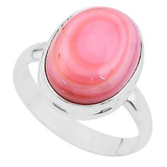 925 silver 8.43cts solitaire natural pink queen conch shell ring size 10 t17979