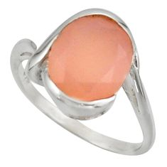 925 silver 5.11cts solitaire natural pink rose quartz oval ring size 7.5 r40971