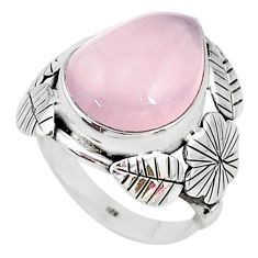 925 silver 9.04cts solitaire natural pink rose quartz oval ring size 7 t10295