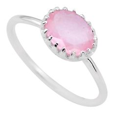 925 silver 2.05cts solitaire natural pink rose quartz ring size 7 t22298