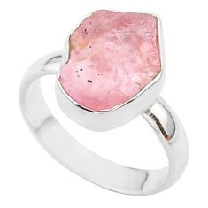 925 silver 5.06cts solitaire natural pink rose quartz raw ring size 7 t33515